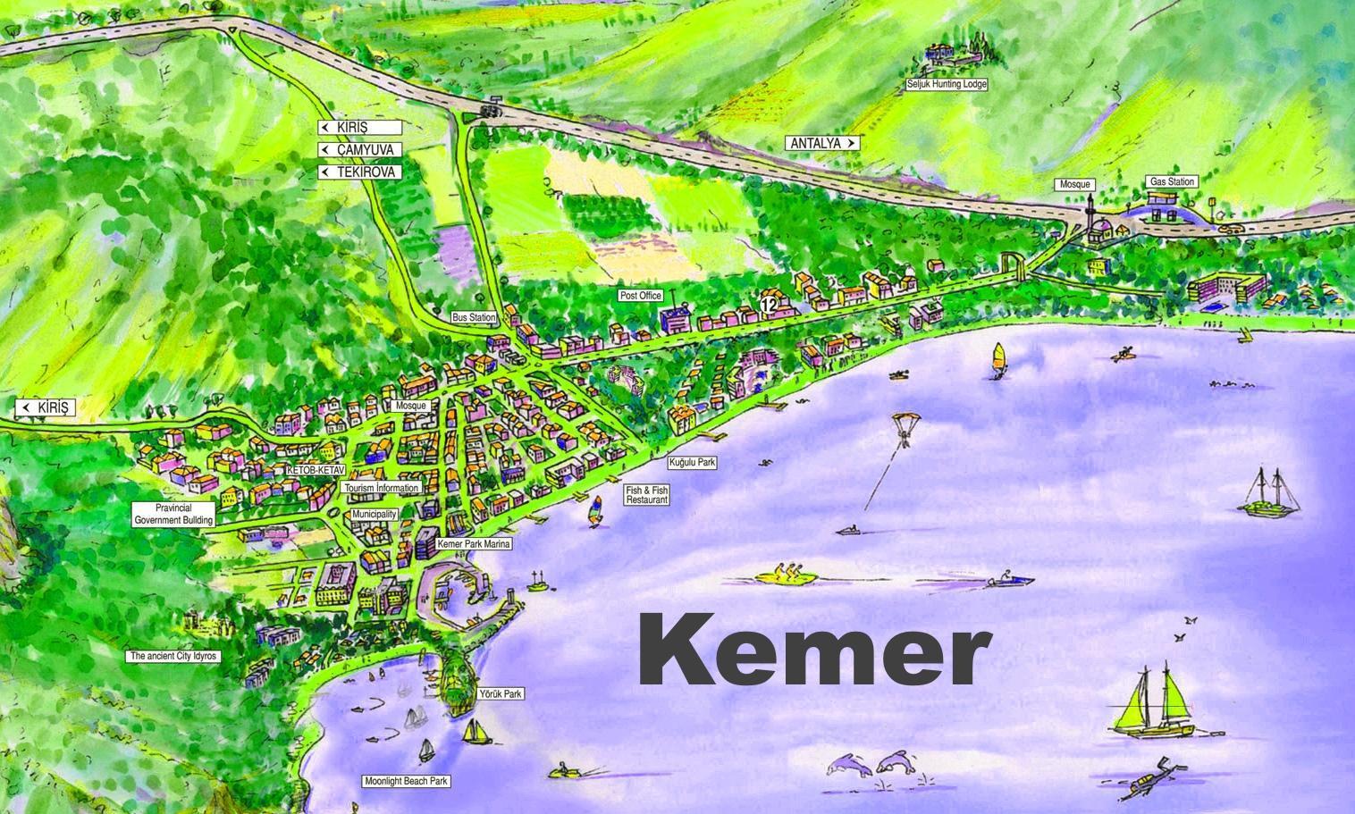 Кемер на географической карте